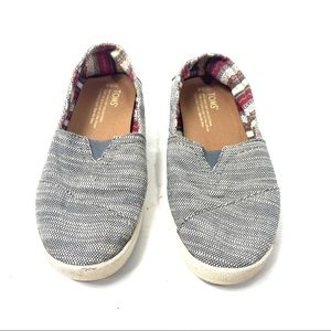 TOMS Striped Fabric Slip-On Valley Flats Shoes 5.5
